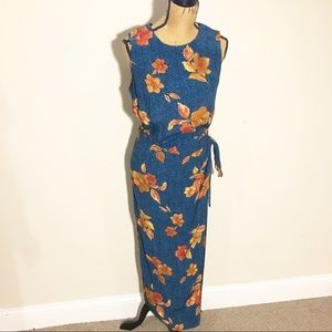 Floral calf length sleeveless wrap dress